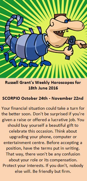 Astrology - Your Scorpio Weekly Horoscope for 18th June  2016