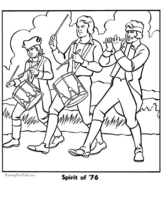 spirit of 76 picture to color bald eagle and the liberty bell are a few of the many patriotic coloring pages pictures and sheets in this section