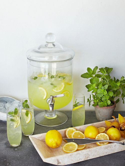 Mint lemonade: •1 cup mint leaves, chopped •2/3 cup sugar •1 cup fresh lemon juice •1 1/2 cups vodka •Ice •Fresh mint  Preparation Combine mint and sugar in large bowl. Stir in lemon juice and vodka. Cover and refrigerate for at least 30 minutes and up to 2 hours.  Strain mixture into pitcher. Garnish with mint sprigs