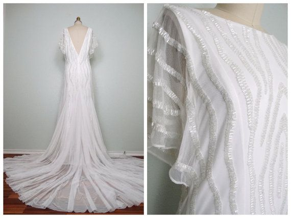 Heavily Beaded Wedding Gown / Iridescent Glass Beaded Sheer White Gown / Tulle Embellished Wedding Dress w/ Train 40