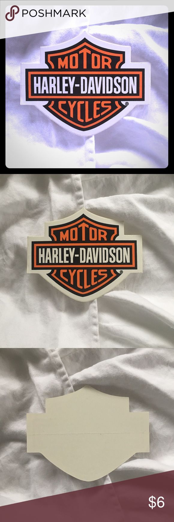 "NEW Harley-Davidson sticker New Hartley-Davidson biker sticker in perfect condition. Measures 4"" wide x 3 1/4"" high. Stick it on! Harley-Davidson Accessories"