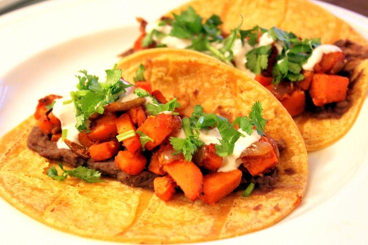 Sweet Potato Tacos with a Spicy Yogurt Sauce
