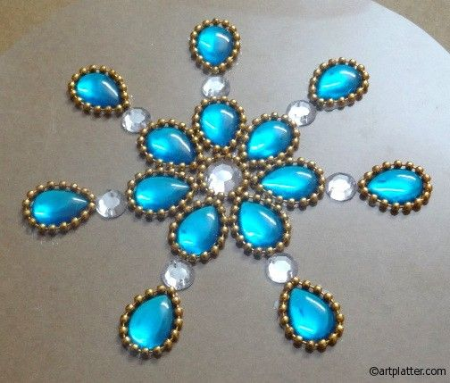 Transparent Kundan Rangoli in Blue - DIY • Art Platter