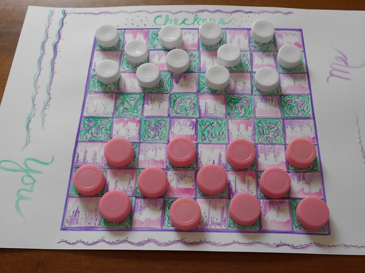 Create your own checkerboard.  use your imagination and..colored bottle caps!