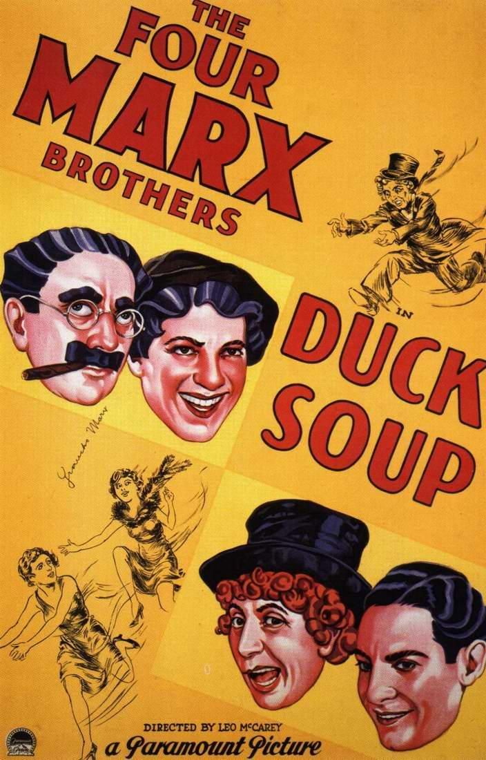 """Duck Soup -- """"Monday, we watch-a Firefly's house, but he no come out; he wasn't home. Tuesday, we go to the ball game, but he fool us: he no show up. Wednesday, *he* go to the ball game, but we fool him: *we* no show up. Thursday was a double-header, nobody show up. Friday it rained, there was no ball game, so we stayed home; we listened to it over the radio."""" - Chicolini"""