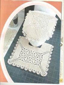 """""""Casos y Cosas de Mi Casa"""": Juego de baño blanco tejido a ganchillo o crochet."""