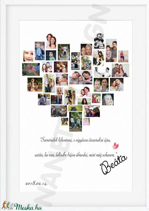 c3b764879a Szív alakú, A3-as print,egyedi fényképes, kép, fotó, poszter, montázs,  babavárás, esküvő, születésnap különleges alkalom (nanetto) - Meska.hu