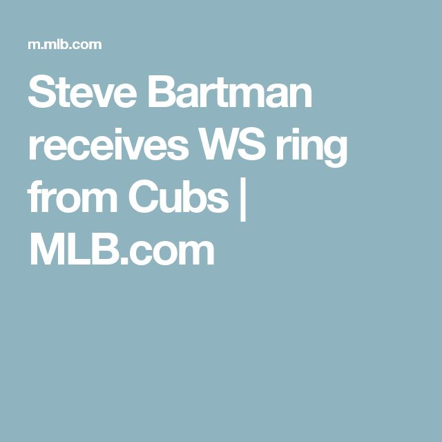 Steve Bartman receives WS ring from Cubs | MLB.com