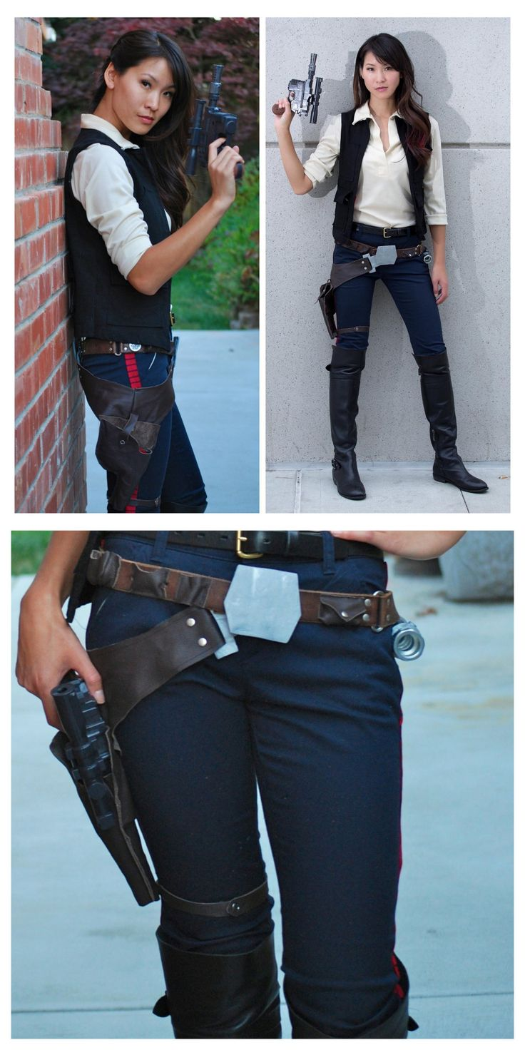 DIY Han Solo Cosplay Tutorials from The Stylish Geek. This is a 4 part series of posts including tips and tutorials for the shirt, pants, vest, belt buckles, accessories and gun. The Right Top Photo...