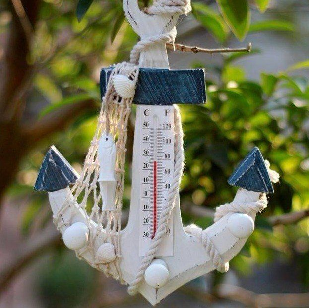Wooden Anchor thermometer Wall Hooks Wood Nautical Boat Decor thermometer Mediterranean style white blue anchor decor-in Bathroom Products from Home & Garden on Aliexpress.com