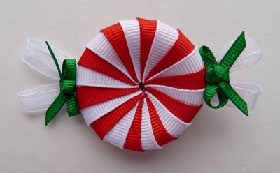 swirl peppermint candy hair bow