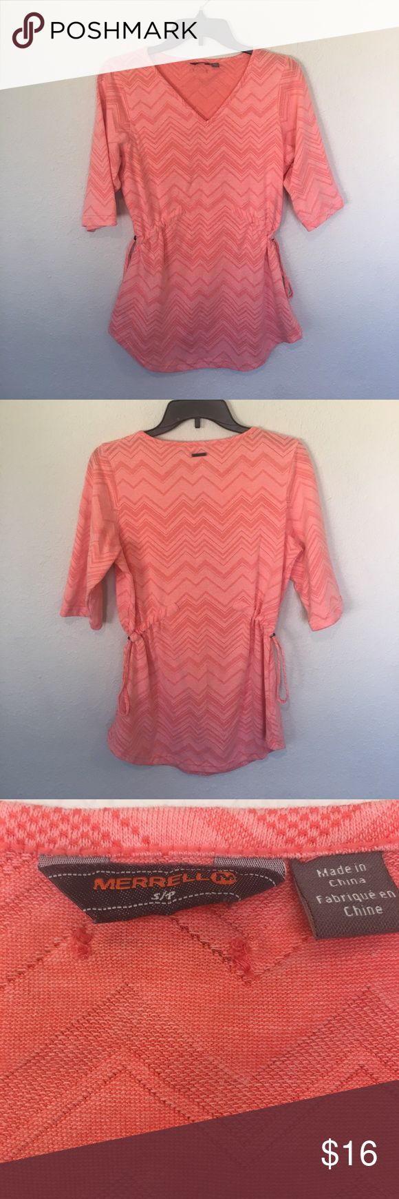 """Merrell Chevron Shirt Merrell half sleeve top with chevron pattern. Pull drawstring adjustable sides for the perfect fit. Underarm to underarm 18"""" Length 27.75"""" No trades, offers welcome. Merrell Tops"""