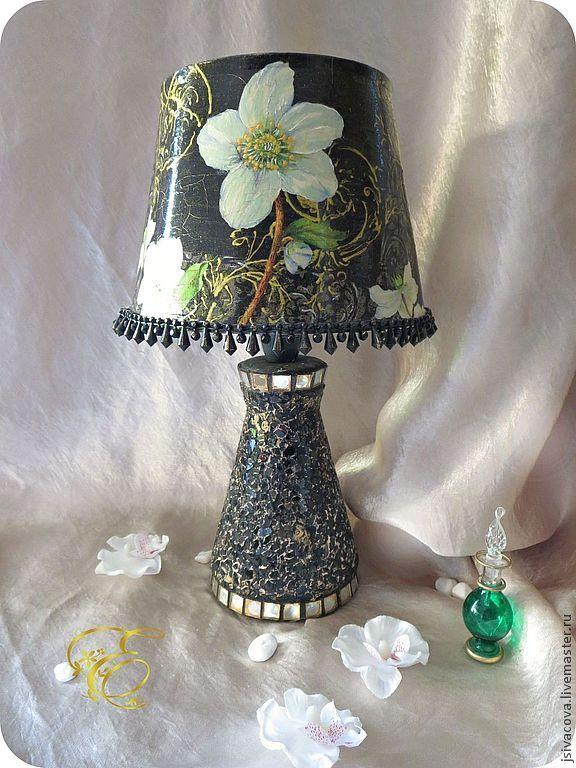 Купить Настольная лампа ,,Белые анемоны,, - черный, настольная лампа, анемоны, белые цветы, ночник
