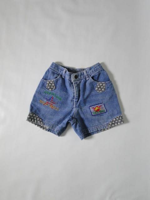 Vintage denim shorts/ jeans shorts/ blue jeans/ child size 10/ vintage clothing/1980s / size 10 / girls clothing/ vintage girls denim by VintBlueBird on Etsy