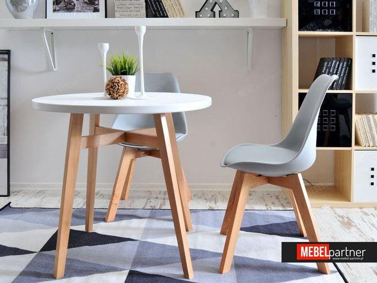 Stół skandynawski do kuchni CROSS biały - w aranżacji z krzesłem LUIS WOOD