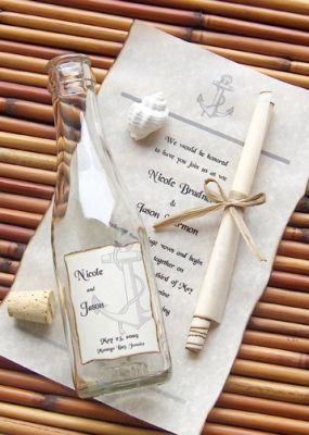 Anchors Aweigh Message In A Bottle Invitations - Perfect for a beach wedding or destination wedding.