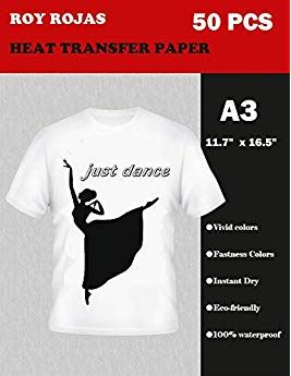 6c899a9cb Roy Iron On Transfer Paper 50 Sheets for Light Color T-Shirt, 17