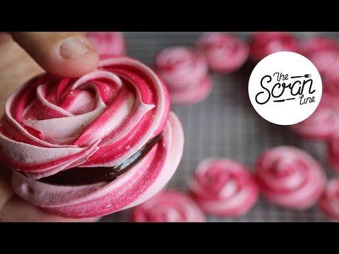 ROSE MERINGUE COOKIES WITH CHOCOLATE GANACHE - The Scran Line - YouTube