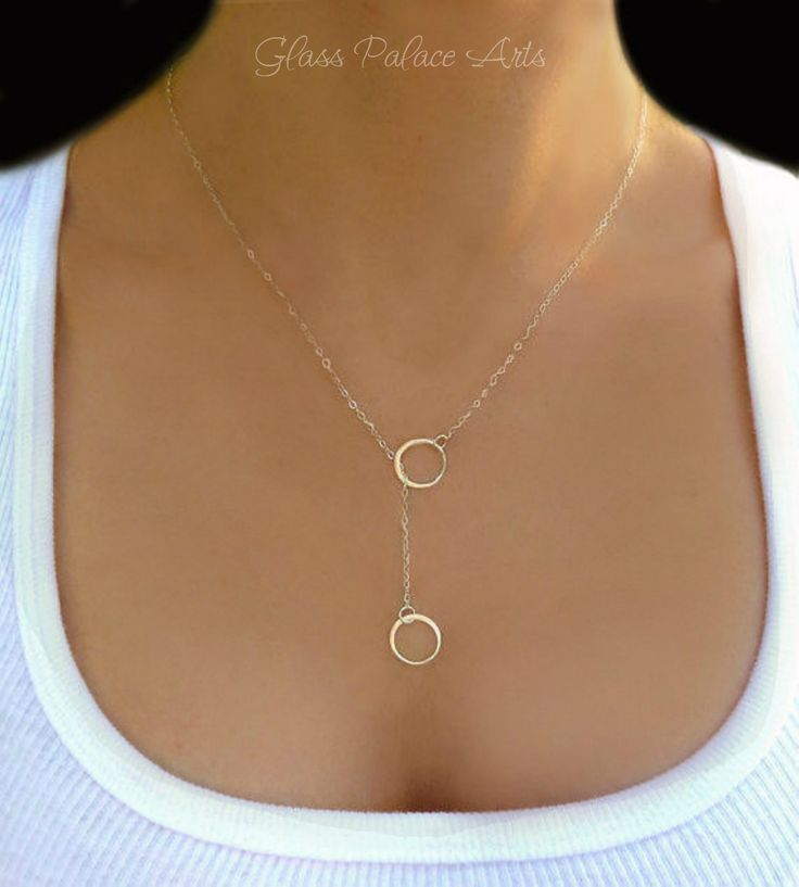 Infinity Lariat Necklace - Small Circle Infinity Necklace - Sterling Silver or Gold