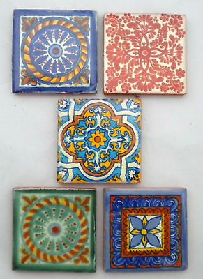 Pack of 50 Assorted Mexican Handpainted 5cm Tiles: Hermosos Patrones
