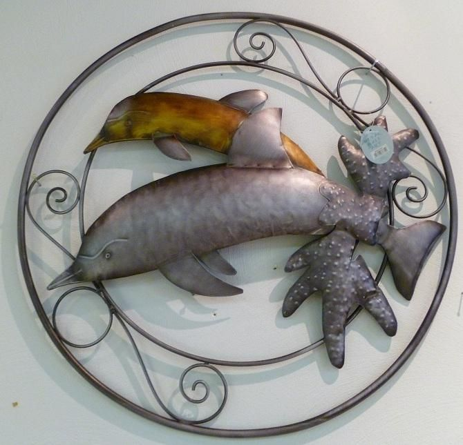 wanddecoratie van metaal dolfijnen dierenbeeldjes