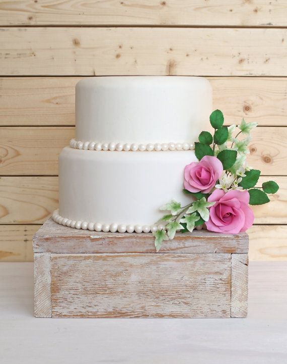 16 Inch Square Cake Stand  Wooden Cake Stand by RitaMarieWeddings