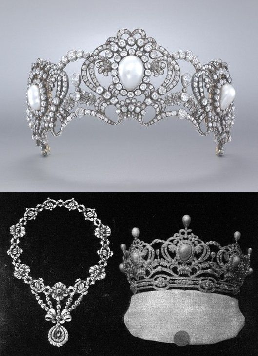 Tiara commissioned by Archduchess Marie Valerie as a wedding present (?) for her daughter Archduchess Elisabeth Franziska of Austria, who married Georg Graf von Waldburg zu Zeil und Hohenems in 1912. Note the cased wedding present form is the one with upright pearls, more elements (5 in total), set on a base diamond bendeau. Convertible to pendant and brooches. Above is the smaller version of 3 elements without uprights or band.