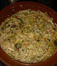 SOPAS MALLORQUINAS FUSSIONCOOK: -Sofreir 1/2 pimiento rojo con un manojo sofritos, añadir pimentón dulce, rehogar y añadir tomates ramallet rallados (en menú verduras tapa abierta) -Añadir 1/2 coliflor en trocitos y judías verdes, rehogar unos minutos y añadir 1/2 col y 1/2 paquete espinacas. -Rectificar de sal, añadir caldo de verduras hasta cubrir y 1 butifarron en trozos. -Menu guiso 10 min válvula cerrada - Listas las verduras , en otro recipiente montar con pan de sopas( pan…