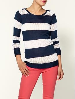 Coral Pants with navy stripes