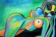 """EMERALD"", 150x100x4, akryl på lærred, kunstner: Renata Mientus, http://maleri-rmp.jimdo.com/"