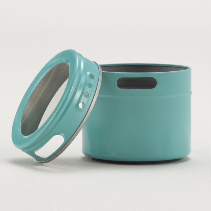 Aqua magnetic storage tin set of 6 world market for Retro kitchen set of 6 spice tins