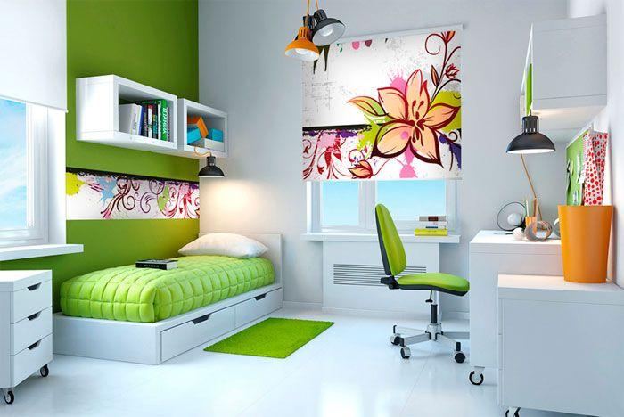 Die Kombination von Tapeten und Vorhängen im Innenraum, Foto