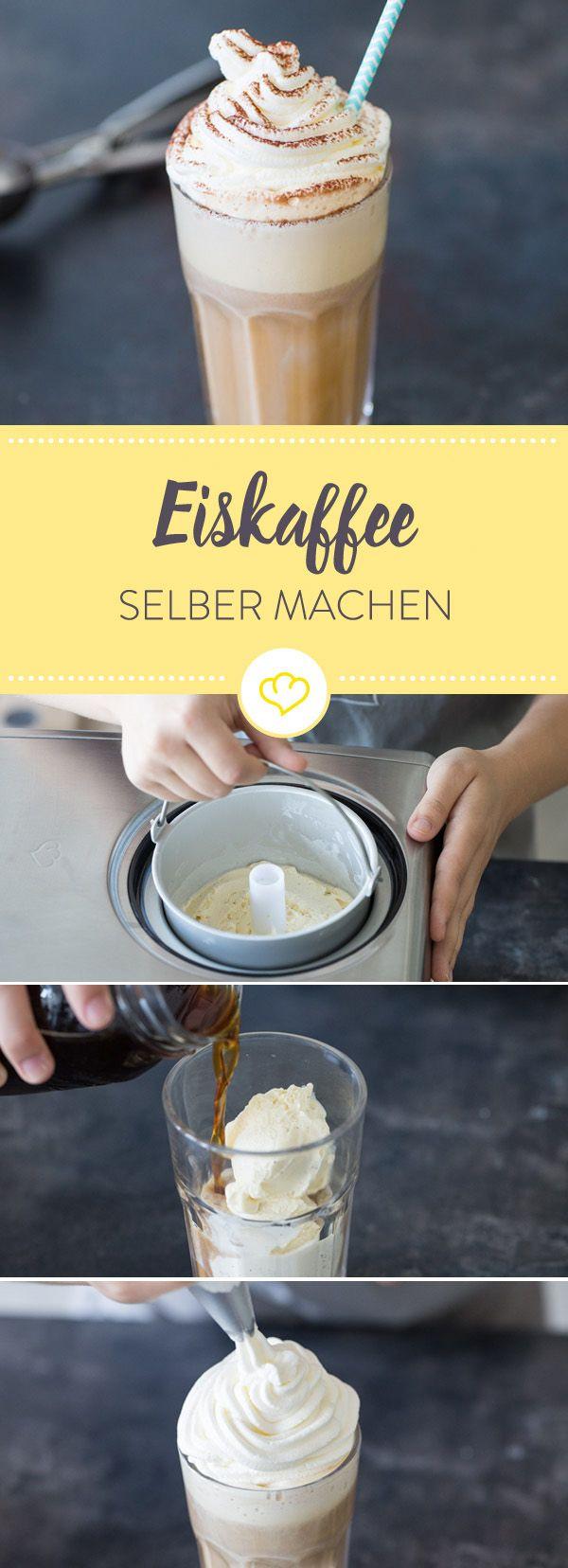 Lass den Cappuccino stehen! Wenn die Sonne vom Himmel strahlt, hilft nur eins: Vanilleeis, Kaffee und Sahne holen und Eiskaffee einfach selber machen.
