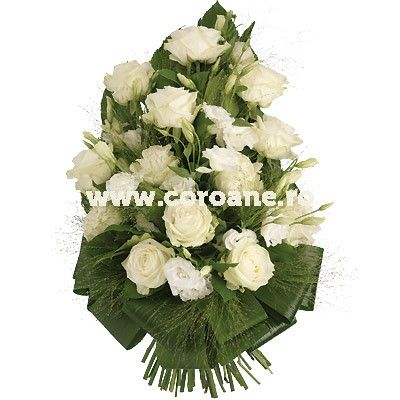 Buchet funerar trandafiri albi, un buchet funerar flori albe pentru un ultim omagiu special.