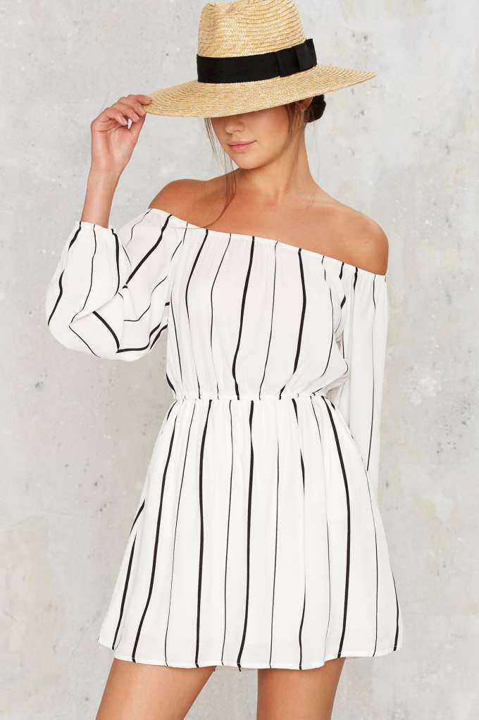 Line of the Times Off-the-Shoulder Dress - White - Clothes | Best Sellers | Day | Stripes | Off The Shoulder