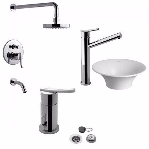 Griferias fv libby lavatorio alto + bidet + bañera $8725