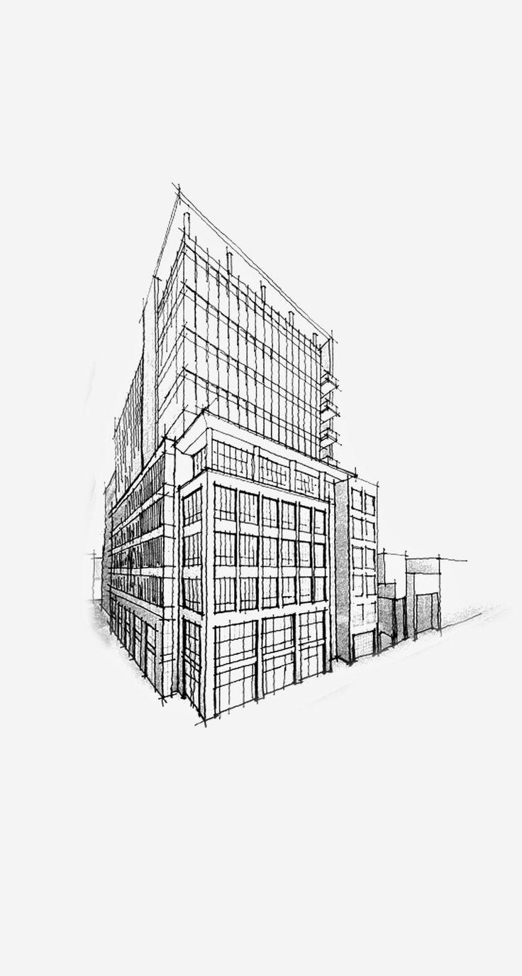 Building Pencil Sketch Architecture iPhone Wallpaper