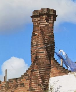 A 'Tudor' chimney from one of Ernest Trobridge's remarkable buildings in Kingsbury, London.