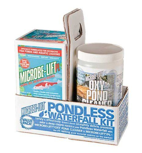 Pondless Waterfall Treatment Kit by Ecological Laboratories. $37.99. Contains Oxy Pond Cleaner. Breaks down debris and cleans rocks. Use for disappearing or pondless waterfalls. Contains Microbe Lift PL. Safely & effectively break down unsightly debris, prevent odor & deep clean rocks in your pondless waterfall.