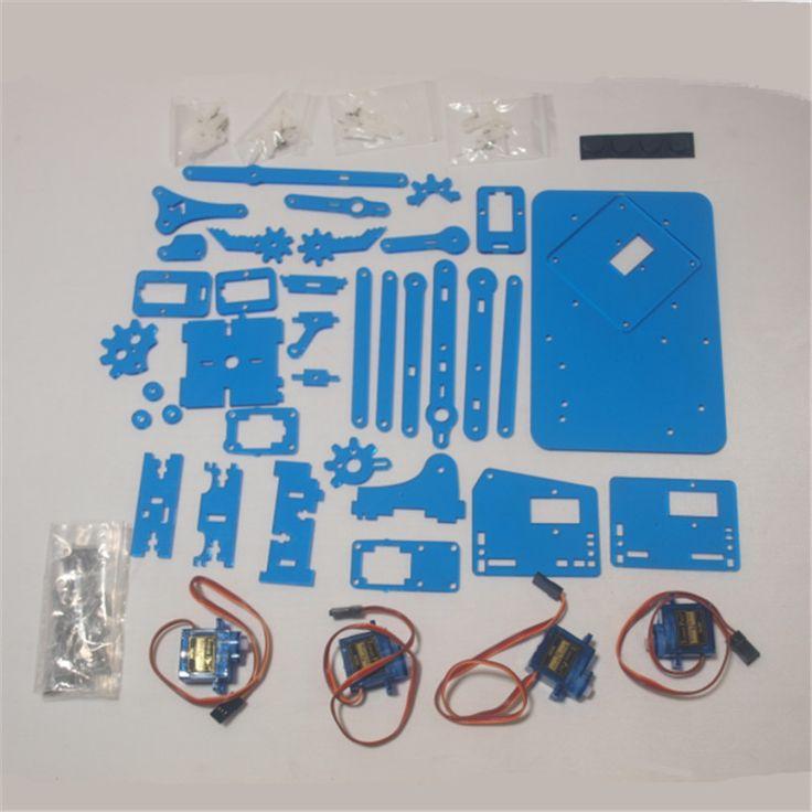 DIY meArm Mini Industriële Robotarm Kit Deluxe laser cut blauwe kleur acryl plaat met 9g micro Servo