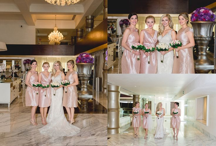 The bridesmaids wore beautiful cocktail length pink sating dresses at this Moon Palace Cancun wedding #destinationwedding