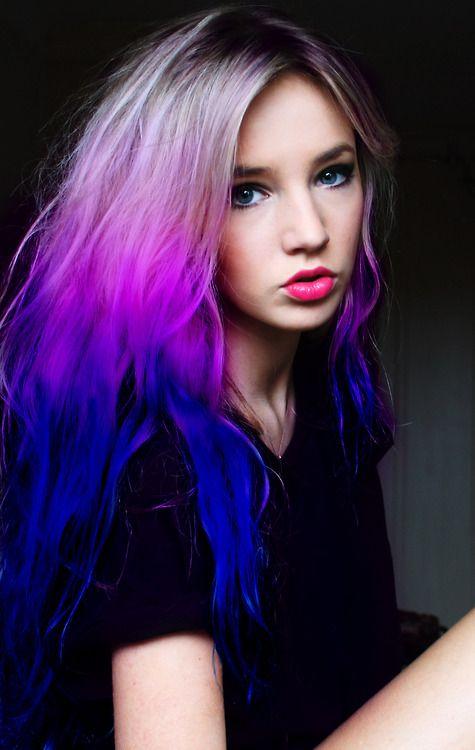 Beautiful purple and blue dip dyed hair: Purple Hair, Hair ...