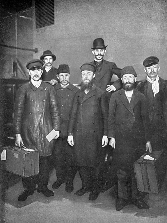 """Russian Jewish immigrants at the Immigrant Inspection Station""  USA - New York, Ellis Island, circa 1900s"