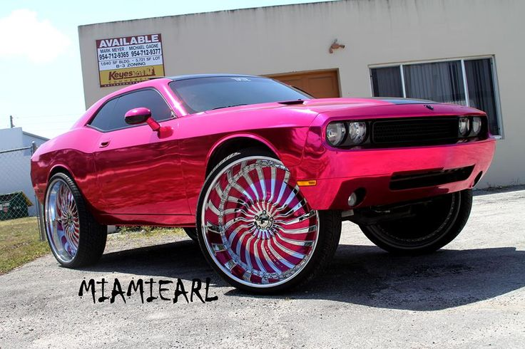 Pink Chrome Challenger On 32Inch Wheels Rides