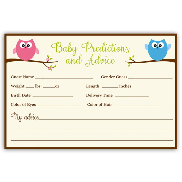 Have guests make predictions at your gender reveal party with this predictions card featuring a blue and pink owl perched on branches. Card measures 4 x 6.