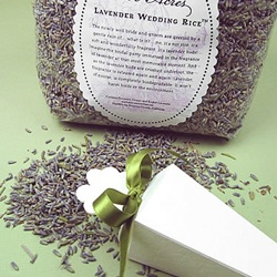 This is such a good idea that I'm finally caving and making a wedding board...lavender wedding rice!