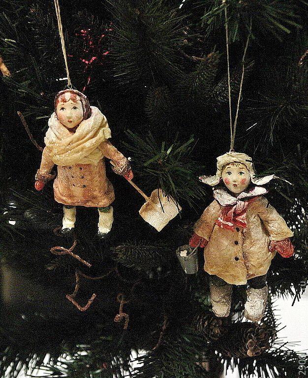 Купить Ванечка и Валечка. Елочные игрушки из ваты. - бежевый, подарок на новый год, елочные игрушки