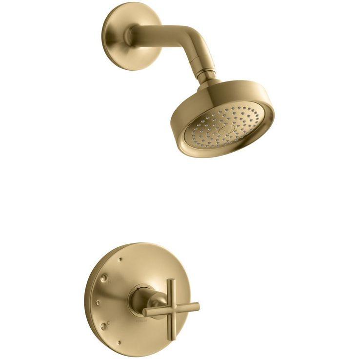 kohler purist vibrant moderne brushed gold 1handle bathtub and shower faucet trim kit with