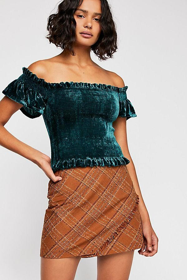 f12acced31c6e Willow Smocked Top - Green Velvet Off The Shoulder Top Embroidered Mom  Jeans