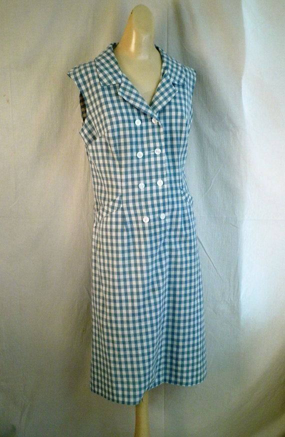Vintage Scooter Dress 1960's Blue Checked Summer by rue23vintage